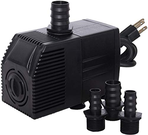 Simple Deluxe 290 GPH Submersible Water Pump for Aquaponics, Fountains, Fish Tank, Hydroponics, Ponds, Statuary, Aquariums & Inline, with 6' Cord, Black