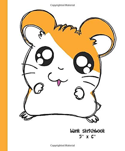 Blank Sketchbook 5' x 6': mini notebook, 80 sheets - Hamtaro - Ham Ham hamster, manga [Idioma Inglés]