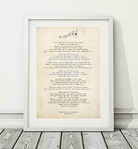 Didymus Co Bon Jovi - Póster con letra de canción sin marco, tamaño A4 (29,7 x 21 cm) y A3 (42 x 29,7 cm), color blanco