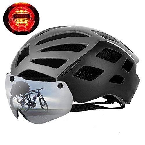 APXZC Fietshelm, ultralicht, 3 flitsmodi, met afneembare magnetische bril met led-licht, verstelbare grootte, antislip, UV-bescherming, voor kamperen, fietsen, klimmen, bergbeklimmen