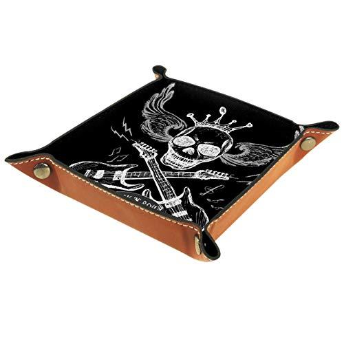 Bandeja de Servicio, Caja de Almacenamiento de Cuero PU, Organizador de bandejas, Caja de Almacenamiento para Relojes Monedas de joyería Monedero Clave Música Rock Calavera Alas de Guitarra