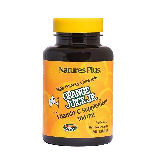 NaturesPlus Orange Juice Junior Chewable Vitamin C - 100 mg, 90 Vegetarian Tablets - Immune Support Supplement, Antioxidant - Gentle On Stomach - Gluten-Free - 90 Servings