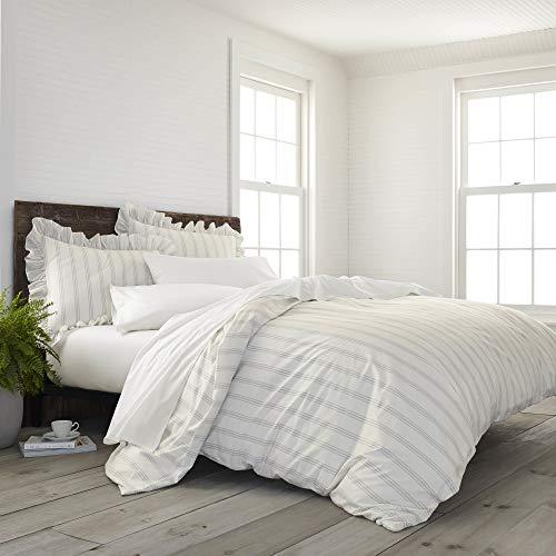 EcoPure 100% Organic Cotton Comfort Wash Brooke Duvet Cover Set, Twin, Gray