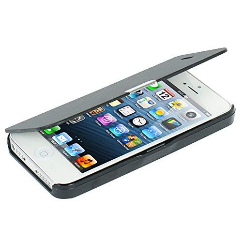 MTRONX für iPhone SE Hülle, iPhone 5s Hülle, iPhone 5 Hülle, Magnetisch Dünn Leder Folio Flip Klapphülle Etui Schutzhülle Tasche Hülle Cover für Apple iPhone SE, iPhone 5s, iPhone 5 - Schwarz(MG-BK)
