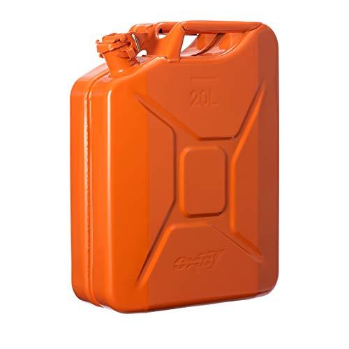 Oxid7® Bidón de Combustible Homologado de 20 Litros - Garrafa de Gasolina y Diésel en Metal con Aprobación de la ONU - Ideal para Viajes Largos; Uso de Cortacésped o Motosierra - Naranja