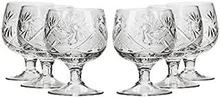 Neman Crystal WG5290, 1.5 Oz Crystal Shot Glasses, Hand Made Tequila/Vodka Shot Glasses, Unique Goblet Shot Glass Set of 6
