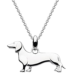 Dew Sterling Silver Sausage Dog Necklace of Length 45.7cm