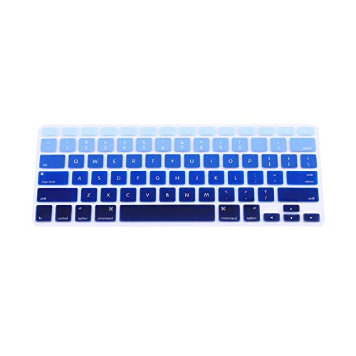 Rainbow Silicone Keyboard Case Cover Skin Protector For Imac Macbook Pro 13' 15' Cover Protector-Blue