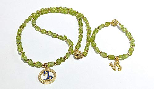 NUANYANG Modetrend zwölf Sternbild Halskette Armband Set Naturstein Erdbeer Kristall perfekte Damen Geschenk-Olive Kristall Steinbock Armband Halskette