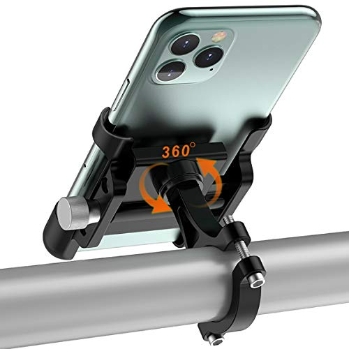 TEUEN Porte Telephone Velo Aluminium Support Téléphone pour Velo Moto Trottinette, Fixation Support Smartphone Moto avec 360° Rotation pour 4-6,5 Pouces (Noir)