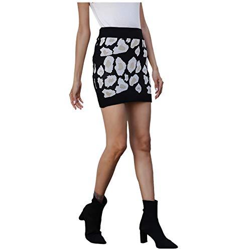 minjiSF Minifalda para mujer, sexy, informal, ajustada, estampado de leopardo, ajustada, ajustada, ajustada, ajustada, ajustada, estilo slimming Negro S