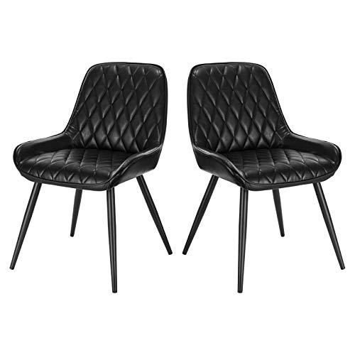 ELIGHTRY 2 Stücke Esszimmerstühle Polsterstuhl Küchenstuhl Wohnzimmerstuhl Sessel mit Rückenlehne, Sitzfläche aus PU, Retrostuhl mit Metallbeine, Besucherstuhl für Esszimmer Wohnzimmer Küche, Schwarz