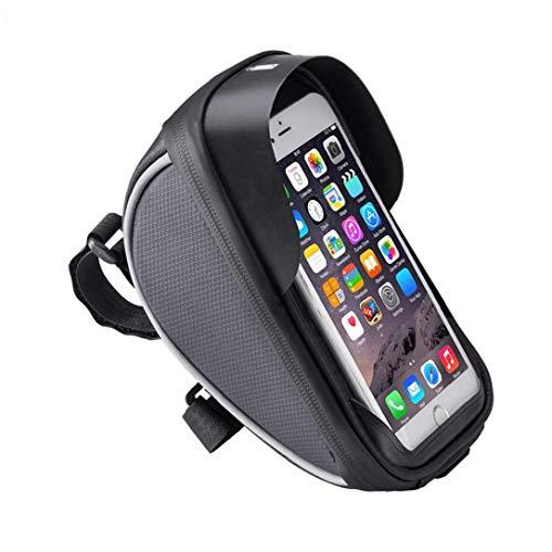 Teléfono cuadro de la bicicleta bolsa de la bolsa de montaje de la bicicleta de teléfono del bolso del manillar de la bici bicicleta bicicletas Bolsa Negro Tubo superior de la bolsa
