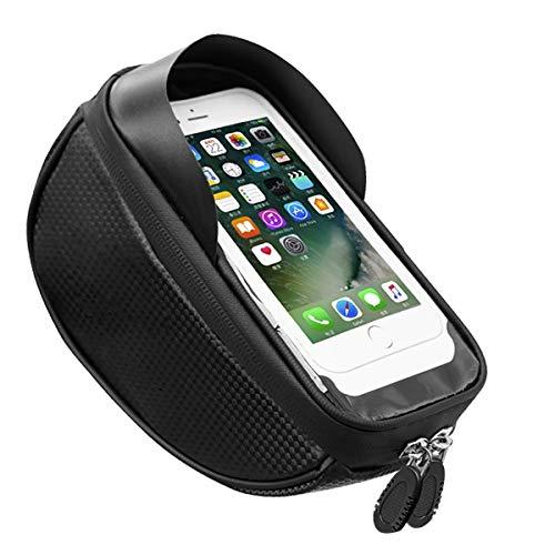 MH-RING Bolsa Impermeable para Bicicleta, Bolsa de Manillar con Visera y Pantalla táctil TPU, Bolsa de Transporte para Bici(Negro) (Color : Black, Size : 18.5X8X8cm)