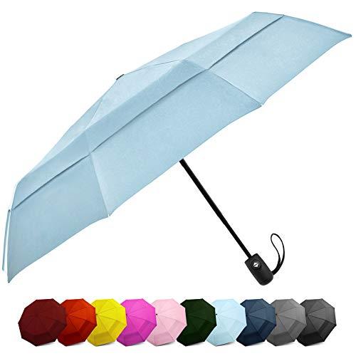 Windproof Travel Umbrella - Compact, Double Vented Folding Umbrella w/Automatic Open & Close Button - Portable, Lightweight Outdoor & Golf Rain Umbrellas w/UV Protection, Light Blue
