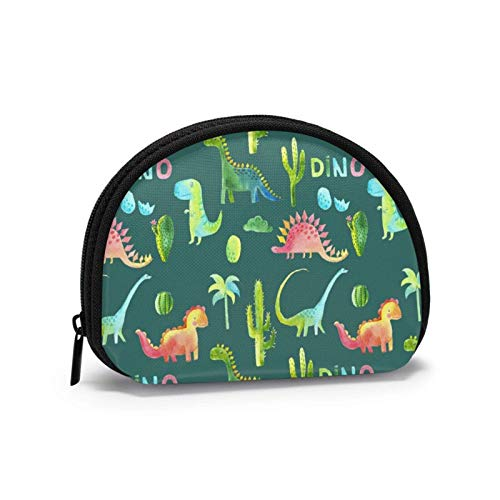 Aquarell Dinosaurier und Pflanzen Exotic Birds Coin Purse Wechselbeutel Wallet Bag für Card Key Lipstick
