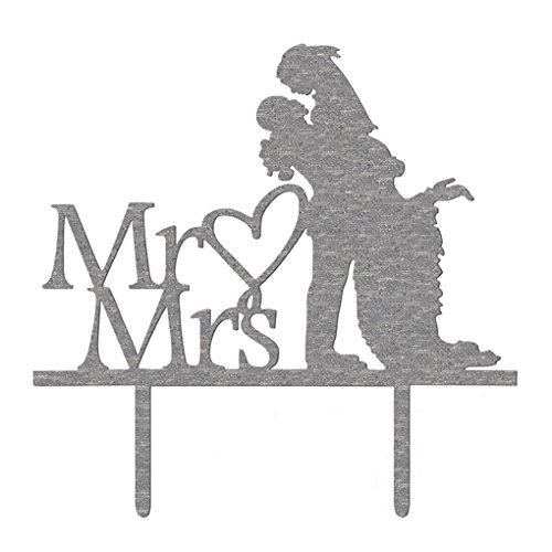 royalr Acrylique Monsieur Madame Inscription Epoux Décoration Topper Silhouette de Coeur de gâteau de Mariage Topper Décoration