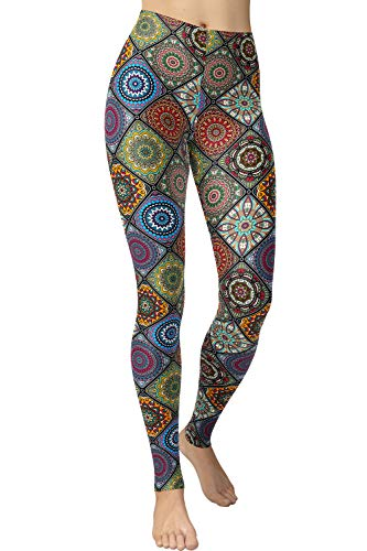 VIV Collection Regular Size Ultra Soft Brushed Print Fashion Leggings, Circle of Imagination