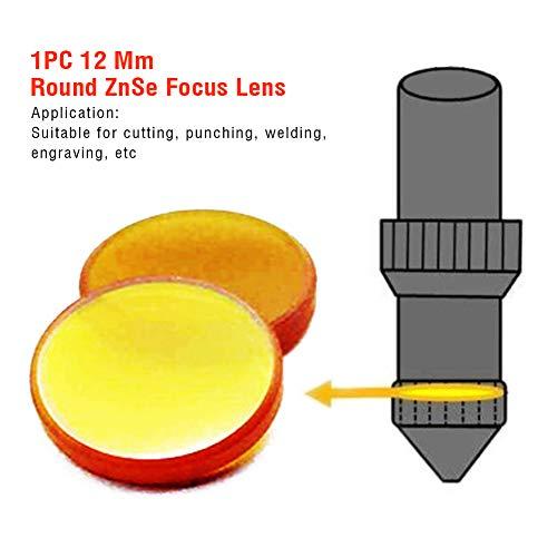 LZDseller01 ZnSE-Fokus-Objektiv, rund, 12 mm, für CO2 Lasergravur, Schneidemaschine FL, Nicht Null, gelb, Free Size