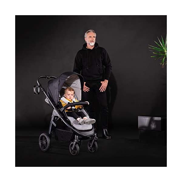 Hauck Hauck Unisex Promenade Chaises Black/Grey Hauck Maximum comfort: backrest and footrest adjustable to the lying position, extra large canopy, height adjustable handlebars, cup holders and foot covers All terrain: the stroller is suitable for both the city and the countryside thanks to the suspension, the high-quality rubber profile and the swivel and lockable front wheels. Swivel: The lightweight sports chair with removable front bar can be rotated towards parents or in moving direction easily in a few seconds. The chair supports a weight of up to 25 kg. 30
