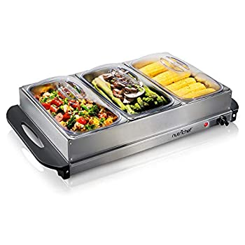 NutriChef 3 Buffet Warmer Server Professional Hot Plate Food Warmer Station  Easy Clean Stainless Steel  Portable & Great for Parties Holiday & Events Max Temp 175F