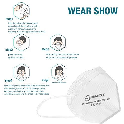10 X AOSANITY FFP2 Atemschutzmaske - Konforme Maske EN 149:2001+A1:2009, Maske mit mehrschichtigem System, hohe Filtrationskapazität Zusätzlicher Komfort und Sicherheit - 5