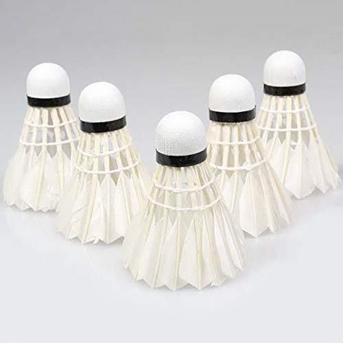 fengzong 5pcs Piuma D'Oca volano Uccello Bianco Badminton Palla Gioco Allenamento Sportivo promozione Calda (Bianco)