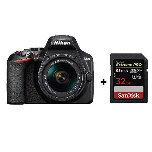 Nikon D3500 + AF-P DX 18–55 VR Kit + SanDisk Extreme PRO SDHC Memory Card,Black