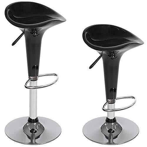 Bakaji Barkruk, keukenstoel, set van 2, modern design, basis van verchroomd staal, zitting van ABS-kunststof, draaibaar, in hoogte verstelbaar en voetensteun (zwart)