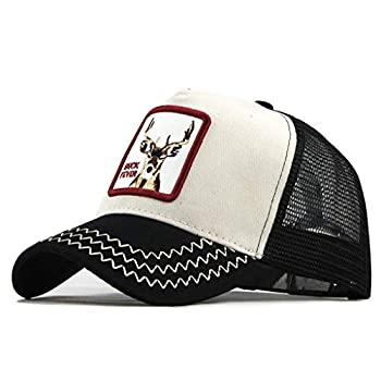 Zlolia Fits Men Women Embroidered Deer Print Trucker Baseball Cap Patchwork mesh Breathable Quick Dry Dad-Hats