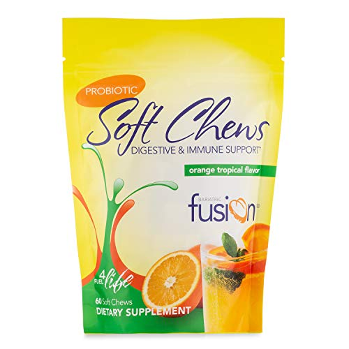 Bariatric Fusion, Probiotic Soft Chews, 10 Billion Live Organisms to Support Digestive & Immune Health, Orange Tropical Flavor, 60 Count