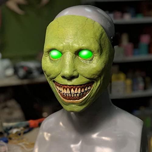 PYapron Máscara de Halloween para Adultos Sonrientes la Cara de Miedo Cubiertas de Ojos Oculares Blancos Máscaras de Terror para Fiestas de Halloween, Cosplay, Fiestas Temáticas(2 pcs),Green Light
