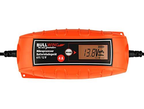 Bullwing Batterieladegerät KFZ Auto Motorrad Mikroprozessor 6/12V 4A Vollautomatisches Batterie Ladegerät Universal Orange