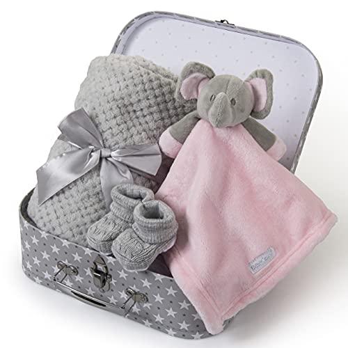 Baby Girl Gift Pink Elephant Comforter + Blanket Bootees Baby Hamper...