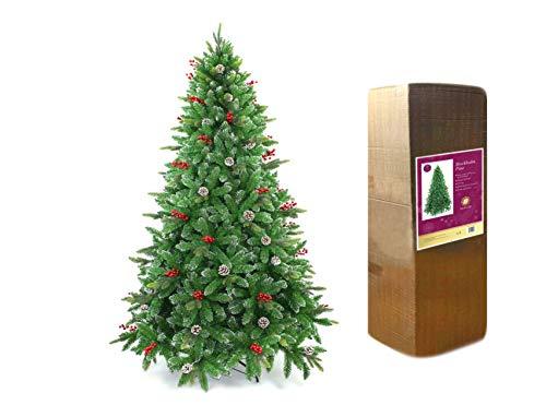 Stoccolma, albero di Natale artificiale di design con bacche e coni satinati, punte miste in PVC PE con rami incernierati, decorazioni per la casa (1,2 m / 1,2 m / 1,2 m / 2,7 m / 2,3 m / 2,5 m / 1,