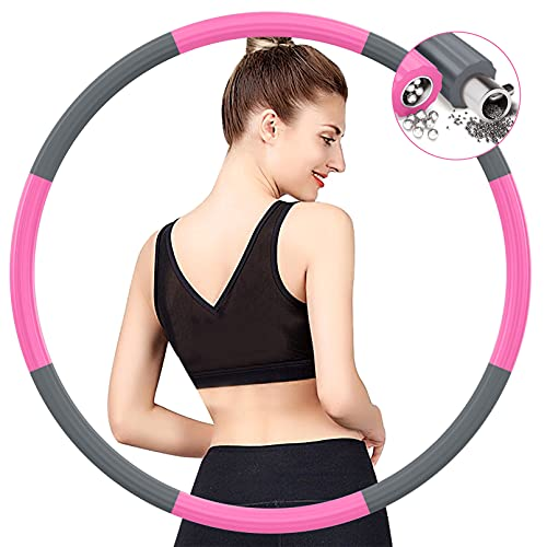 BIAOQINBO Hoop Reifen Erwachsene für Fitness Gewichtsabnahme,Verbesserter Edelstahlkern mit Dicker Premium Schaumstoff Gewichteter Hoop Reifen,8 Abnehmbare Segments von 1,2 bis 3,2 kg (Grau rosa)