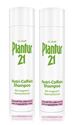 Nutri Coffeion Plantur 21 Lot de 2 shampoings pour cheveux colorés avec une croissance plus légère des cheveux 250 ml