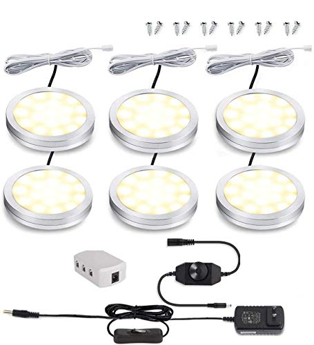 Led Dimmable Puck Lights,Set of 6 Warm White Under Cabinet Lighting Kit w/Rotary Dimmer Switch, Total of 12W, LED Counter Light Above/in/Under Kitchen Closet Bookcase, Shelf