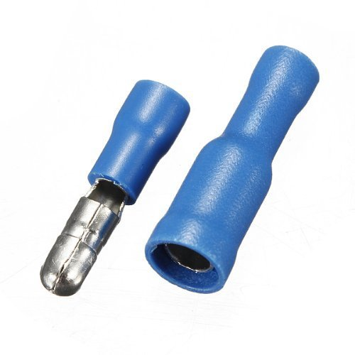 Onwon 50 PCS Blue 14-16 Awg Gauge Male-Female Solderless Crimp Bullet Plug Connectors Bullet Butt Connector Wire Bullet Insulated Crimp Terminals
