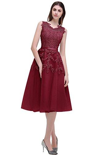MisShow Damen Kurz Abendkleider mit Perlenstickrei Abschlusskleider Ballkleider Partykleider Cocktailkleider Weinrot 46