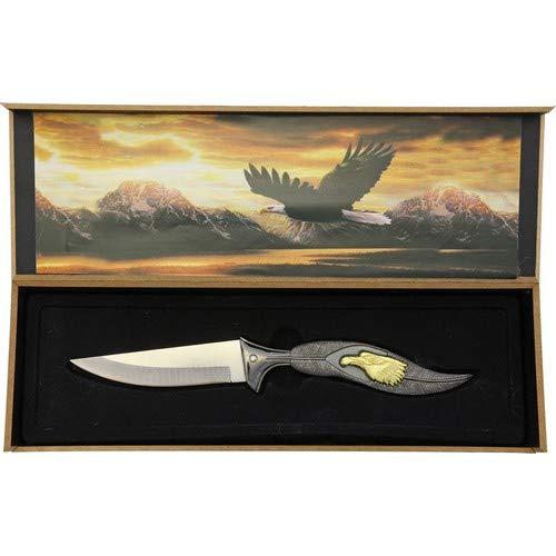 Joker Deko-Messer mit Adler und Federgriff, Grau/Gold, 22 cm