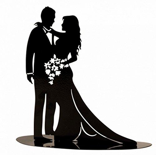 Brautpaar, Hochzeitspaar | Tortenaufsatz Tortenfigur Dekofigur Metall Kuchendekoration | Hochzeit Wedding Cake Topper | schwarz (Blumen)