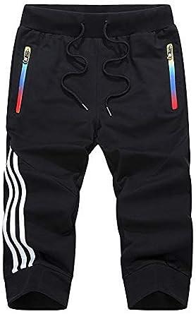 AOTORR Men's Sports Jogger Capri Shorts, Casual Breathable Cotton 3/4 Pants with Zipper Pockets