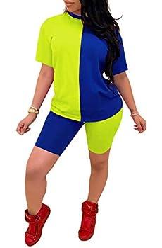 2 piece shorts Outfits for Women Tracksuit - Colorblock Short Sleeve T Shirt Bodycon Capris Sets