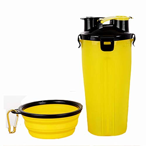 FSJD Dog water bottle travel pet bowl, pet food container 2-in-1, with portable collapsible cat bowl, outdoor drinking fountain (with scale on the cup wall),Yellow,Folding bowl*1