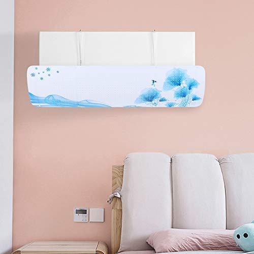 Klimaanlage Deflektor, Klimaanlage Windschutz, langlebig 35.4x10.6in Einfache Installation Frauen Office Home für Baby(Blue lotus)