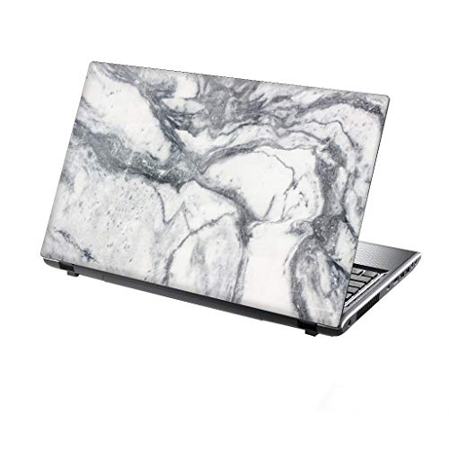 TaylorHe 15.6 inch 15 inch Laptop Skin Vinyl Decal with Colorful Patterns and Leather Effect Laminate MADE IN England White Marble Texture