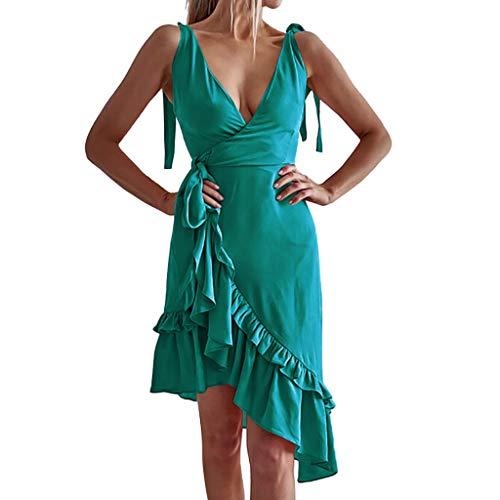 HROIJSL Women Summer Floral Printed Dress Maxi Short Skirt Casual Sleeveless Camisole Sexy Mini Beach Shorts Party Sundresses Green