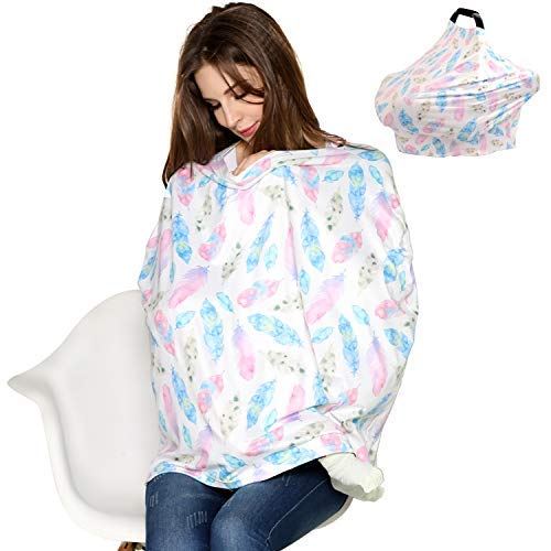 Nursing Cover, Feeding Cover, Soft Breathable Breastfeeding Cover, Stretchy Baby Car Seat Cover Canopy, Shopping Cart, Stroller, Car seat Covers for Girls and Boys (Colorful)