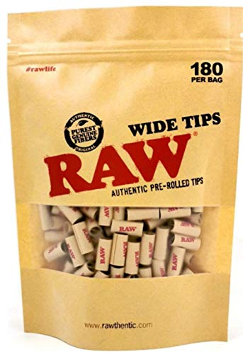 RAW PRE Rolled Wide Tips Filter Paper Natural Rolling RAW Tips 180 Tips